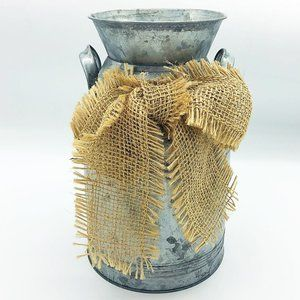 Galvanized Milk Can with Burlap Bow